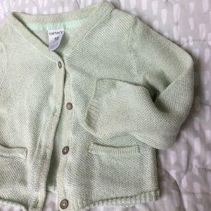 4/$15! Carter's | Girl shimmer mint green cardigan